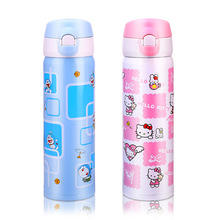2017 new Hello Kitty cartoon, women's lock, vacuum Flasks cup, stainless steel thermos bottle, children's portable thermos cup