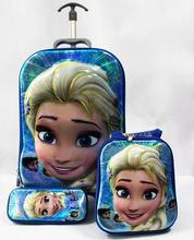 New cartoon Big Head kids suitcase  Elsa 6D women luggage travel bags with wheels (lunch box + pen boxes+trolley luggage )