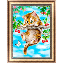 Cute Cat 5D Diamond Embroidery Painting Cross Stitch DIY Craft Mosaic Home Decor 40cm*30cm -Y102
