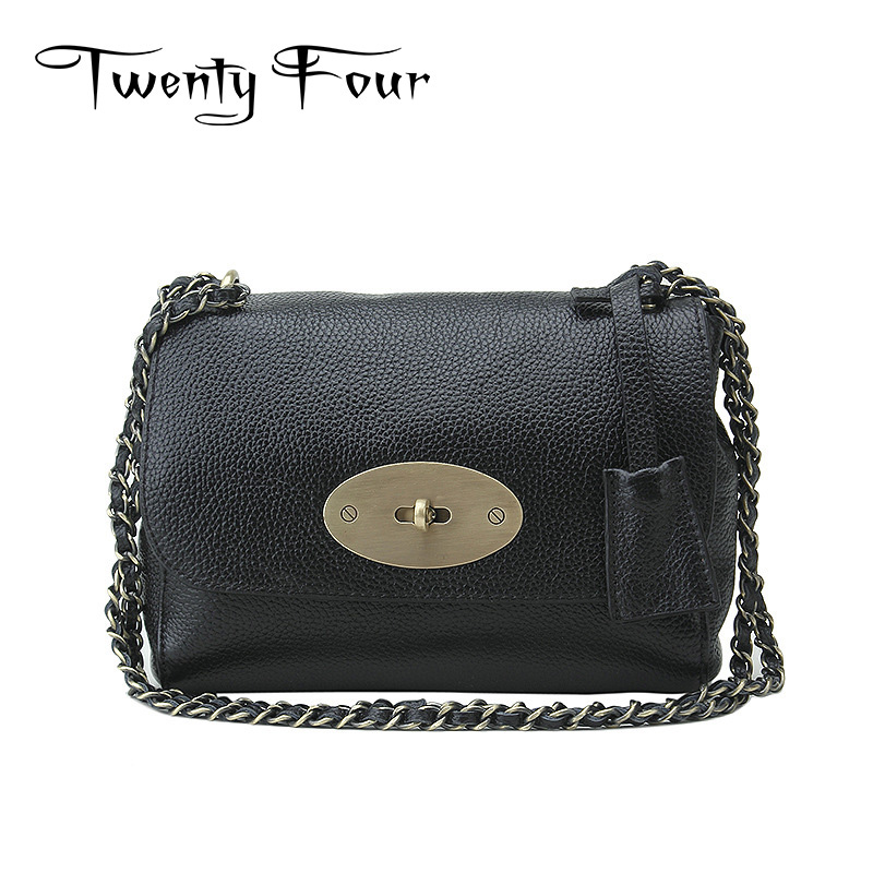 Twenty-four Women Handbag Genuine Leather With Metal Chain Cover Clip Lock Litchi Stria Leather Small Shoulder Bag Girl Flap Bag<br>