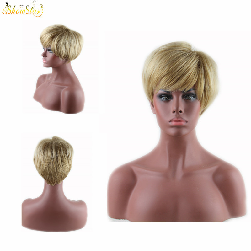 New High Quality Blonde Wig Short Bob Heat Resistant Synthetic Wigs Straight Wig for Black Women Fake Hair Pixie Cut Female<br><br>Aliexpress