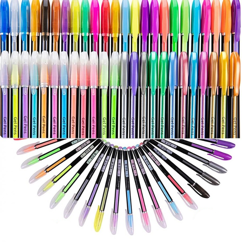 48 Colors Gel Pens Set Glitter Sketch Drawing Painting Craft Markers Stationery!