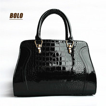 2016 new hot women bag classic women messenger handbags Patent leather crocodile pattern handbag BOLO Brand Free shipping