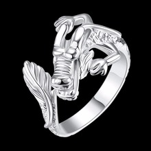 Trendy women silver plated copper dragon head finger ring round man knuckle ring party fashion jewelry size 8