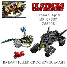 LEPIN 768PCS Marvel Super Heroes DC Batman Tumbler Killer Croc Sewer Smash Building Blocks Figures Avengers toy Compatible 76055(China)
