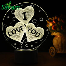 Valentine Lovers 3D Colorful Table Lamp Love Heart Balloon Romantic Gift for Wedding Wife Touch Baby Night Light Table Lamp