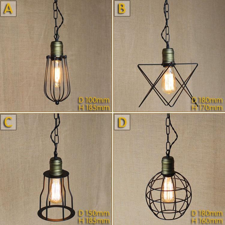 Iron Pendant Lamp Modern Vintage industrial Edison Bulbs Bar Restaurant Bedrooms Large Shopping mall Muuto E27 Art Dining room<br>
