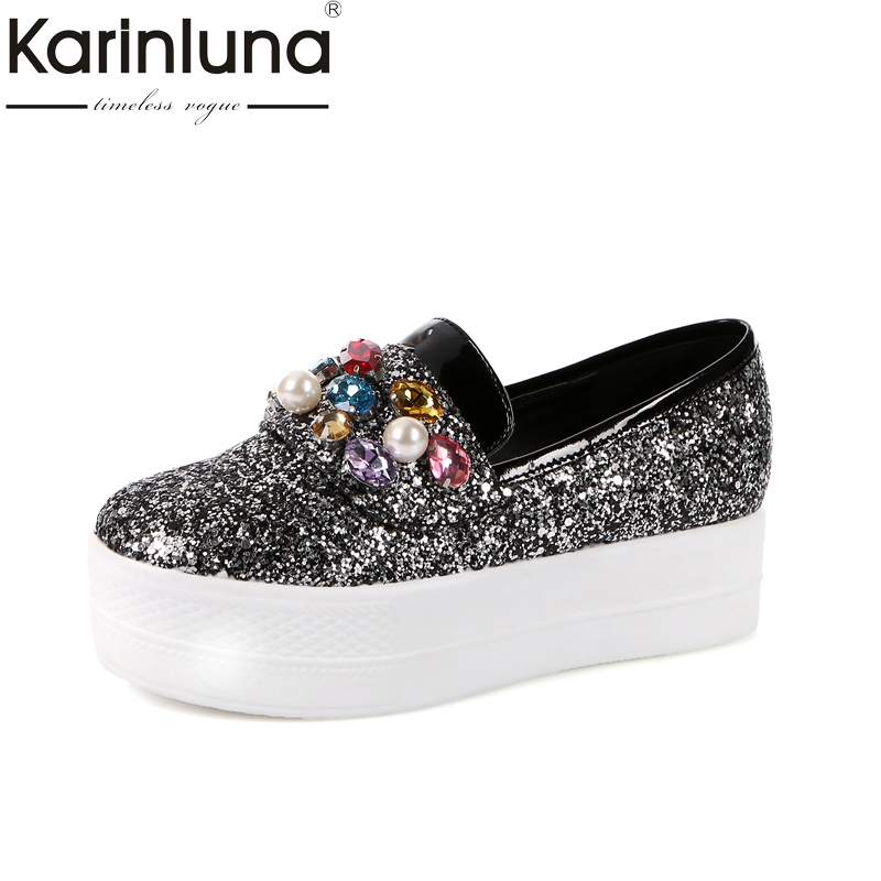 Karinluna New Arrivals Large Sizes 33-43 2018 Casual Flat Platform Loafers Pearls Crystals Bling Upper Women Shoes Woman<br>
