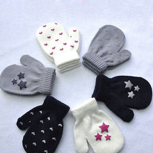 Kids Little boy Girl Dot Star Heart Pattern Mittens Children Boys Girls Gloves Soft Knitting Warm Mittens 3-5T(China)
