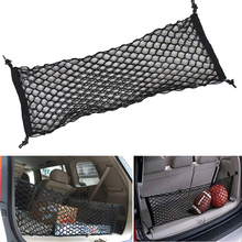 90x30cm Black Envelope Style Car Rear Trunk Mesh 4 Loops Double Layers Cargo Tiding Auto Net Storage Bag Pocket