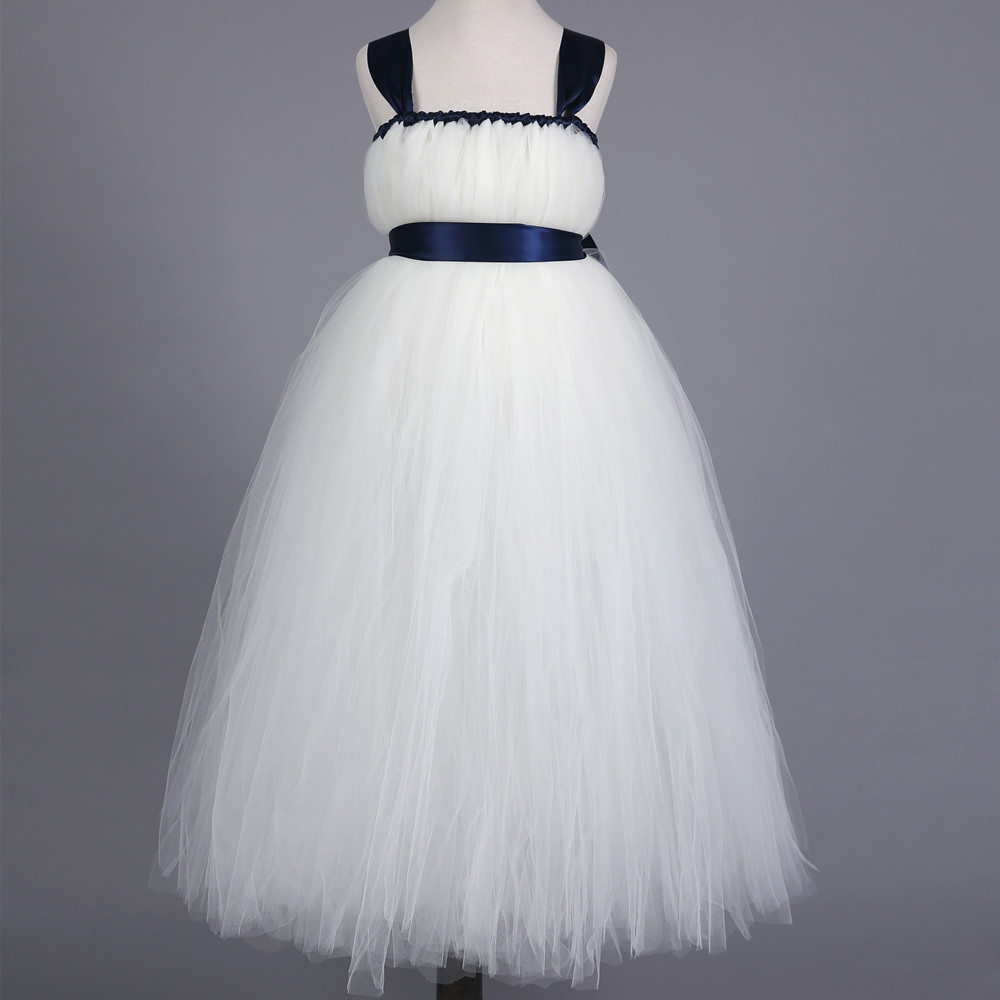 Girls Tutu Dress Princess White Bridesmaid Flower Girl Wedding Dress Fluffy Ball Gown Kids Party Prom Performance Tulle Dresses<br>