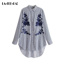 LTD 15 2017 New Embroidery Blouse Women Flowers Shirts Lady Fashion Collar Single Breasted Female Striped Long Loose Vestidos(China)
