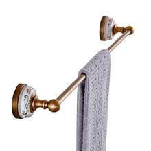 European Antique Copper Gold-Plated Single Towel Bar Golden Towel Racks Wall Mounted White Porcelain Metal Pendants Bathroom set(China)