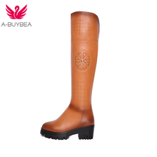 A-BUYBEA Women's head, cowhide, leather, retro long boots, round hair, lace UPS, sexy dress shoes, Russian size 34-39(China)