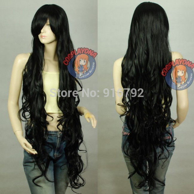 SHIPPING 150cm NEW Black Sexy Extra Long Wavy Cosplay Wig<br><br>Aliexpress