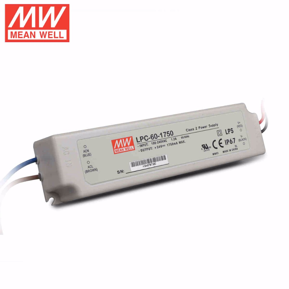 Mean Well LPC-60-1750 60W 1750mA LED Waterproof Driver, Single Output Switching Power Supply<br><br>Aliexpress