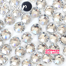 Clear Crystal DMC Hotfix Rhinestones Flatback Glass Iron On Hot Fix Rhinestones Iron On Strass For Transfer Motif Designs Y2873(China)