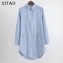 [XITAO] 2017 New Summer Korea Fashion Casual Women Striped Loose Long Shirt Female Full Sleeve Turn-Down Collar Blouse CXB301