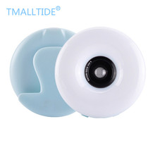 TMALLTIDE Rechargeable 2 In 1 Shake Selfie Light + Wide-angle Lens for IPhone Android Phone LED Light Beauty Round Ring Clip