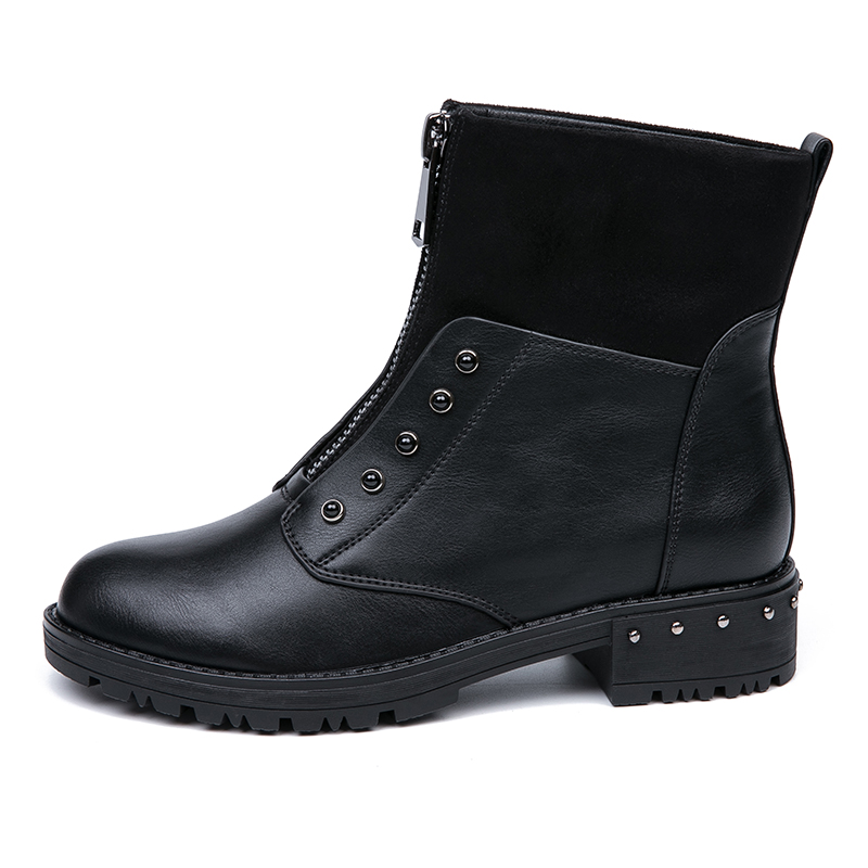 IMG_5641AIMEIGAO Front Zipper Black Ankle Boots For Women Warm Fur Plush Insole Women Boots Low Heel Cool Style Autumn Women Shoes
