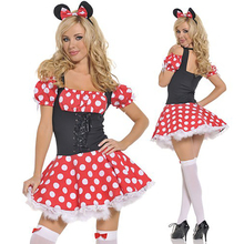 Adult Minnie Costumes Sexy Girl Minnie Mouse Red Polka Dots Dress Fancy Dress Party Halloween Costumes for Women Clearance