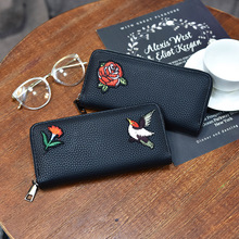 2017 New Design Vintage Multifunctional Purse Wallet Women Long Style Rose Flower Black Wallet Bird Embossible Purse Clutch Bag(China)