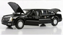 New brand Cadillac DTS LIMO car model scale 1:32 ABS Alloy Diecast extended edition Car Model with light car collection toy