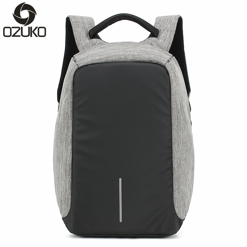 OZUKO Brand Business Men Anti-theft Backpacks Multifunction USB Charging Fashion Backpack 14 inch Laptop Rucksacks Male Mochila<br>