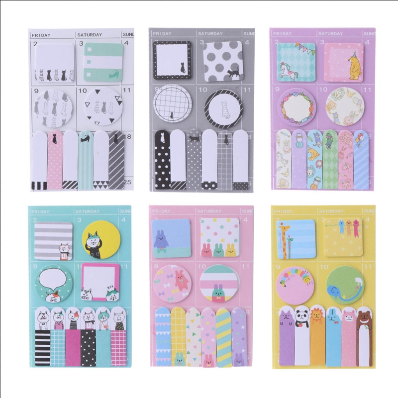 1pcs animals color memo pad paper Schedule marker Weekly plan post it sticker notes stationery school supplies Kawaii(China)