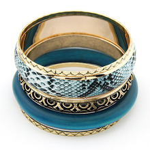 LEMOER 5pcs/set Punk Snake Leather Fashion Retro Blue Wood Bangle Multilayer Alloy Bangles For Women
