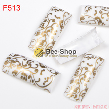 100pcs White Half Cover Nail Art Luxury Painting Gold Color Strips Patterns Work Acrylic False Nail Tips Fake Nail Tip BF513(China)