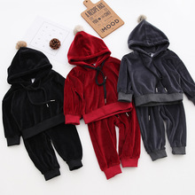 Children autumn velvet suit Girls Clothes Brand Toddler Boys Sport Hooded Clothing Sets(China)