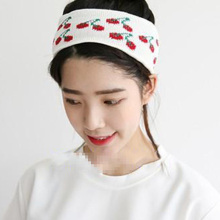 Women Cherry Pattern Wide Headband Knit Wool Stretch Hair Band For Dance