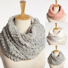 Nice Women Faux Fur Infinity Circle Cable Cowl Neck Winter Warm Long Scarf Shawl