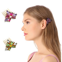 New Colorful Rhinestone Hairpins Comb for hair Flowers Five-toothes Boho Hairbrush Purple Green Hair Accessories CF110