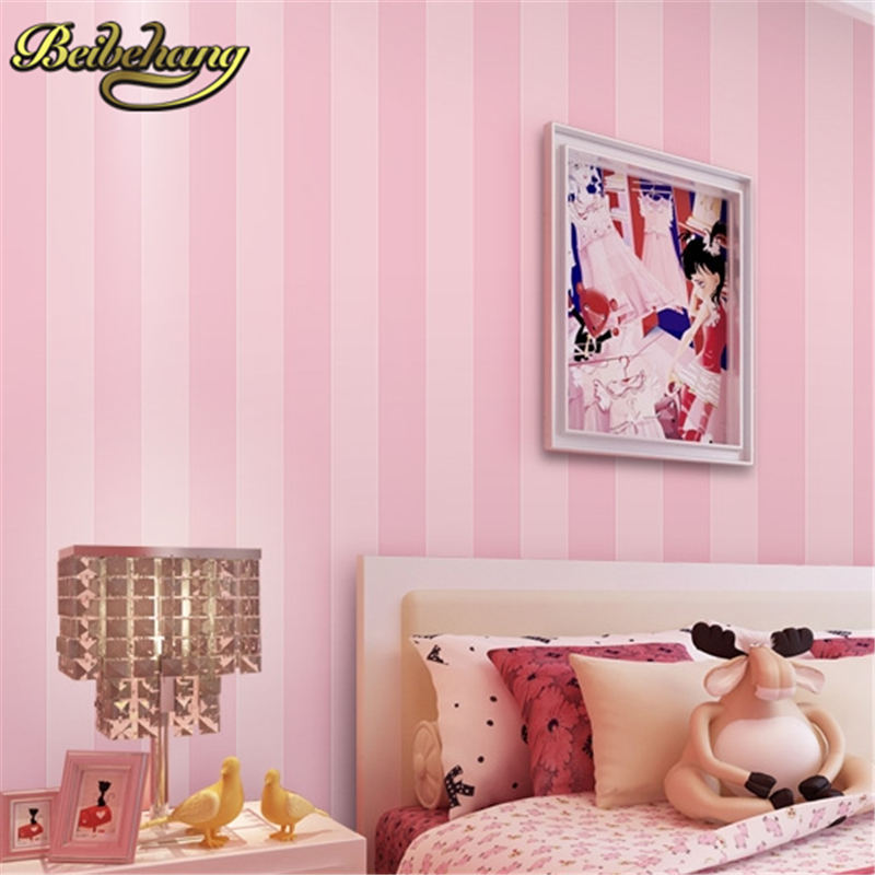 beibehang papel de parede Striped pink wallpaper for walls 3 d wallpaper-3d Home Decoration wall paper living room contact paper<br>