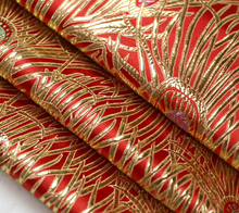 The Brocade Fabric Ancient Costume Hanfu Dress Fabric Doll Clothes Kimono Brocade Fabric Golden Peacock Feathers