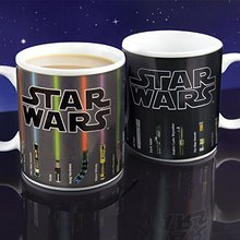 Free shippping  Star Wars Lightsaber Heat Reveal Mug color change coffee cup sensitive Ceramic Mug friend Birthday Gift