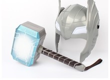 2017 sell like hot cakes Avengers Alliance Series Thor's Hammer Luminous Thor Hammer 28cm Halloween Show Props weapons model(China)