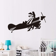 Airplane Vinyl Wall Decals Aircraft Wallpaper New Design Kids Room Wall Sticker Home Decoration Accessories(China)