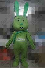 high quality EVA head with fan and helmet cartoon green bunny mascot costumes