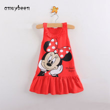 Amuybeen Girls Summer Dress Print Minnie Casual Princess Dress Kitty Cat Little Girls Dresses Kids Children Cute Birthday Dress
