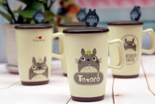 Kawaii Cartoon Novelty Totoro Handgrip porcelain Business Gift With Spoon kids Cool Summer Milk Coffe Juice water Mug BW015(China)