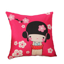 Japanese Style Back Cushion Without Inner Print Kimono Girls With Sakura Home Decor Sofa Car Seat Decorative Throw Pillow Square