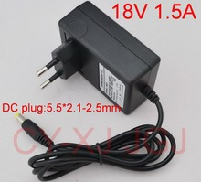 High Quality 1PCS AC 100V-240V Converter Adapter DC 18V 1.5A CCTV Camera Power Supply EU Plug DC 5.5mm x 2.1-2.5mm