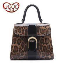 Europe and the United States style sexy leopard leather handbags ordinary paragraph patent leather leather handbag Messenger bag(China)
