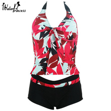 2017 WATER PRINCESS Two Piece Swimwear Women Swimsuit Tankini Sexy Floral Halter Padded Bathing Suits Breast Beach Wear