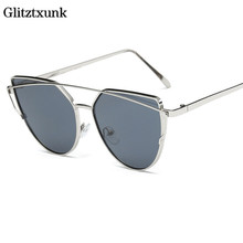 Glitztxunk Fashion Sunglasses Men and Women Multi-color Film Reflective Sunglasses European and American Style Cat Eye Glasses(China)