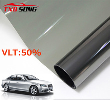50cm*300cm/Lot Light Black Car Window Tint Film Glass VLT 50% Roll 1 PLY Car Auto House Commercial Solar Protection Summer