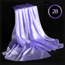 100% Silk Satin Long Scarf 55X180cm Pure Mulberry Silk Plain Color Silk Scarf Factory Direct Online Store 28 Violet Purple Color(China)